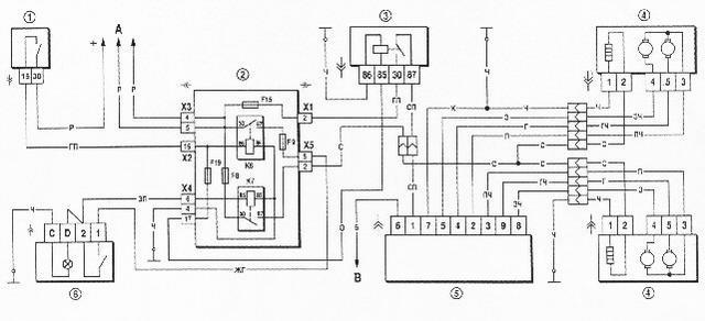 Схема включения фар -2101