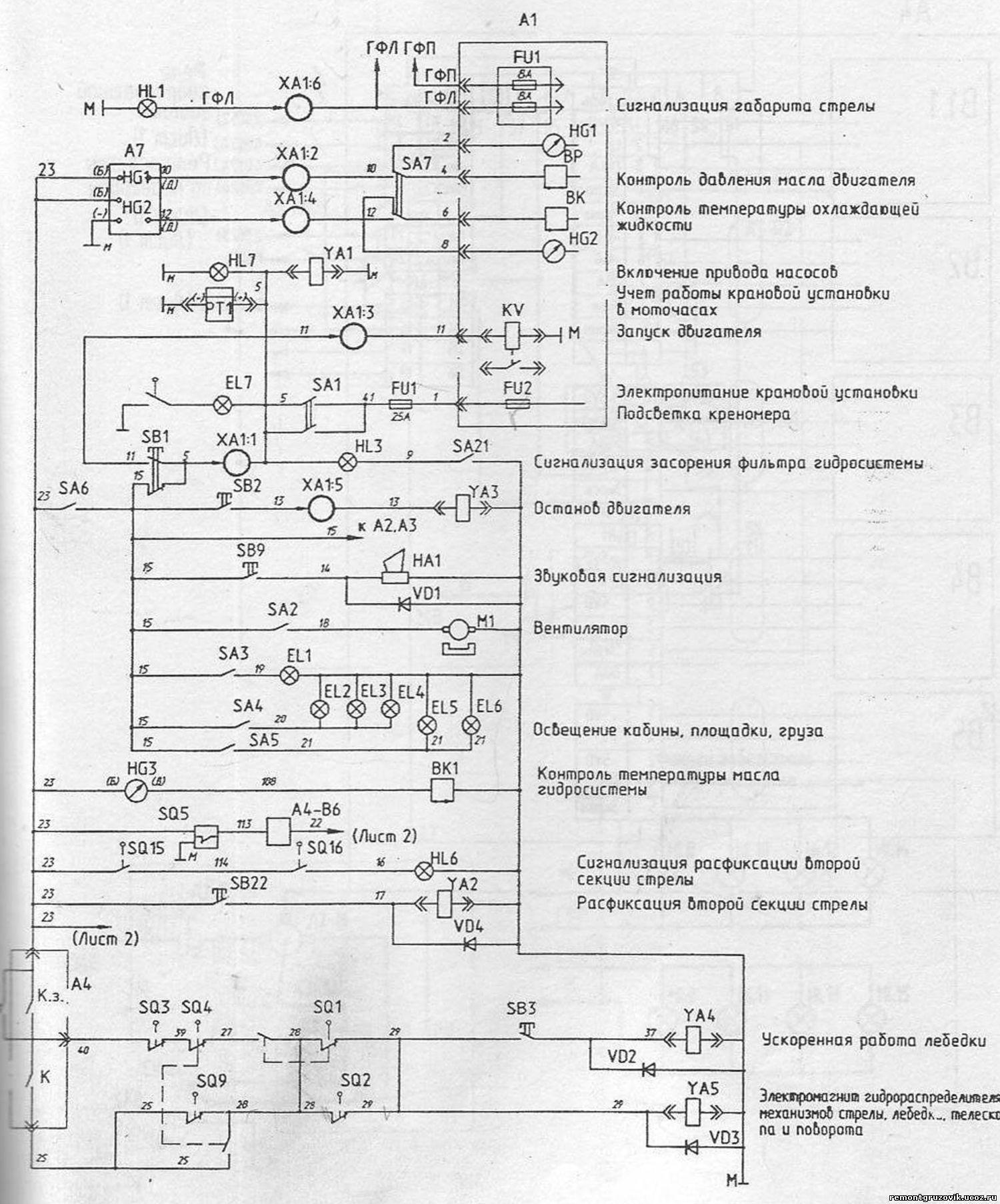 Принципиальная схема на кран кс-5363